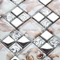 art painting glossy glass mixed metal mosaic tiles kitchen back splash mosaic bathroom shower 12x12 mosaic on mesh HMB1441