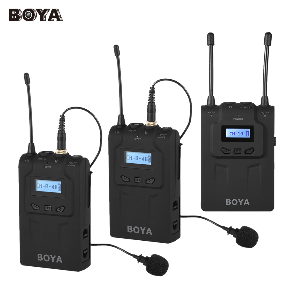 boya by wm8 pro mic condenser wireless mic microphone system audio video recorder receiver for. Black Bedroom Furniture Sets. Home Design Ideas