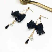 Cute Lace Bow Tassel Earring Sweet Simulated Pearl Earrings For Women Accessories Female Fashion Jewelry Gift White/Black/Pink все цены