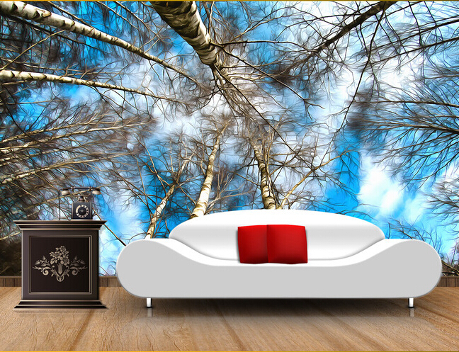 Custom ceiling wallpaper murals, white birch fantasy landscape for the living room  TV setting wall waterproof papel de parede custom ceiling wallpaper blue sky and white clouds murals for the living room apartment ceiling background wall vinyl wallpaper