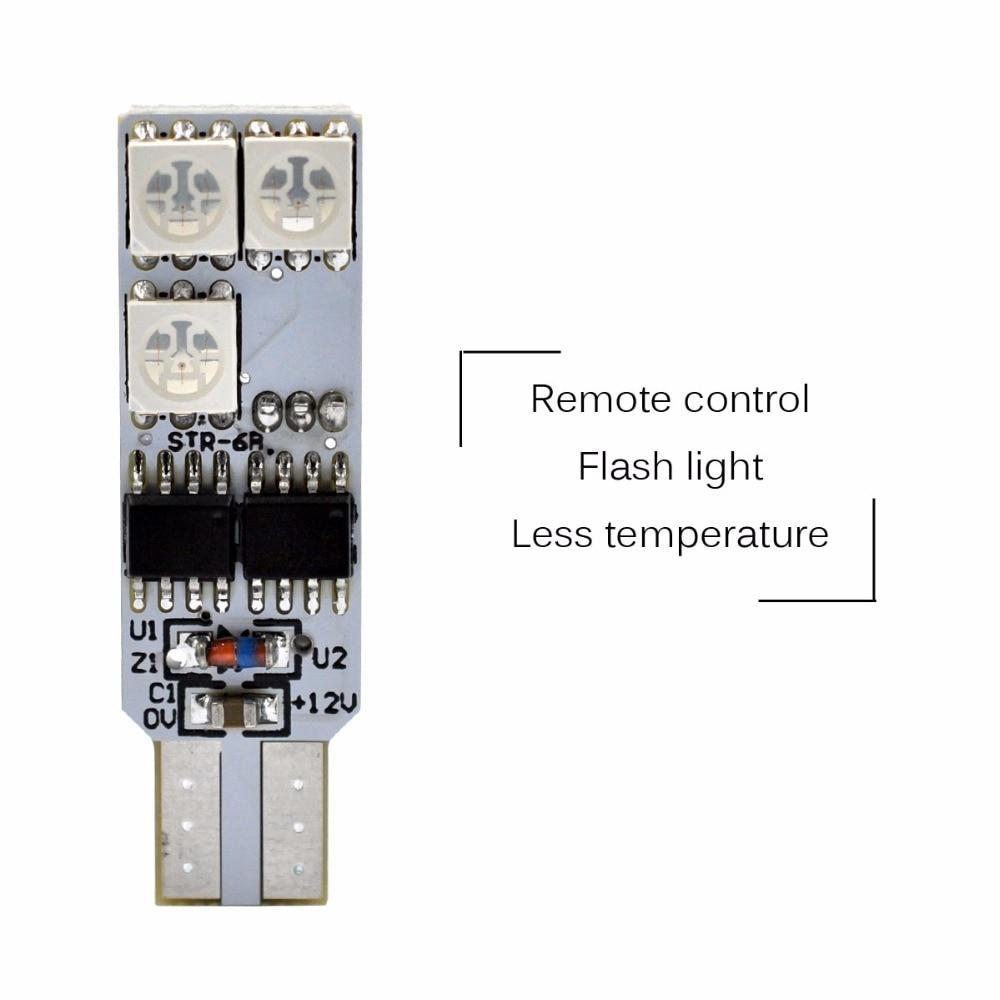 AutoEC 1 készlet T10 194 w5w RGB 5050 6 SMD többszínű LED-es - Autó világítás - Fénykép 4