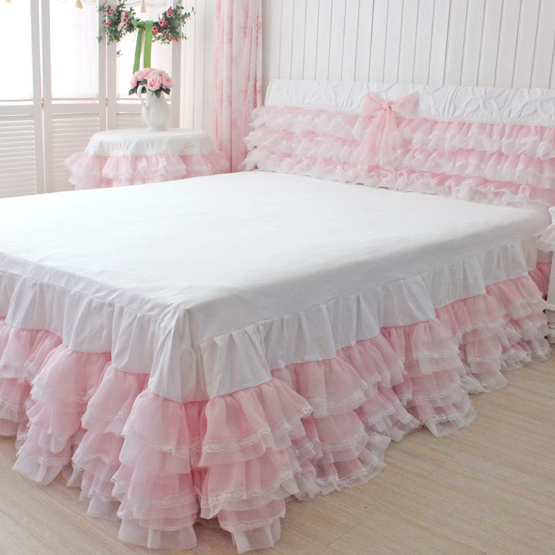 New dream romantic cake layers drop bedspread wedding decoration bedding princess bedroo ...
