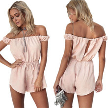 New arrival Sexy Women Playsuits Pink Solid Cotton Off Shoulder Bow Jumpsuit Rompers Playsuit combinaison femme