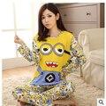 Frete grátis hot 2017 Conjuntos de Pijama Feminino O-pescoço de Manga Comprida Senhora Outono Primavera Dos Desenhos Animados Pijamas pijamas Roupa de Dormir Para As Mulheres