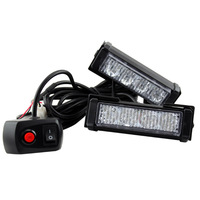 2X High Power 8w RED BLUE10 Modes Flashing LED Warning Light 8LED Strobe Caution Light Car