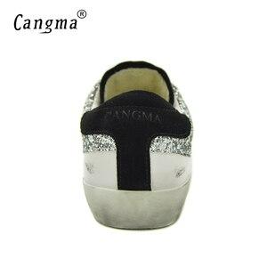 Image 5 - Cangma مصمم رياضة المرأة الأبيض نمط تنفس جلد طبيعي الأحذية السيدات الأحذية الجديدة الغزال الفضة بريق أحذية مسطحة