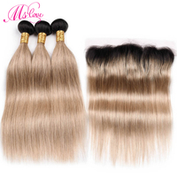Ms Love Tb/27 Blonde Bundles With Lace Frontal Closure Remy Human Hair Brazilian Hair Straight Bundles With Closure 13*4 Lace