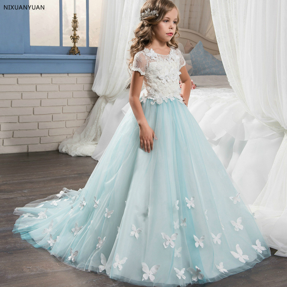 Butterfly Lace   Flower     Girl     Dresses   For Weddings Hand made   Flowers   Appliques First Communion   Dresses     Girls   Pageant Gown Vestidos