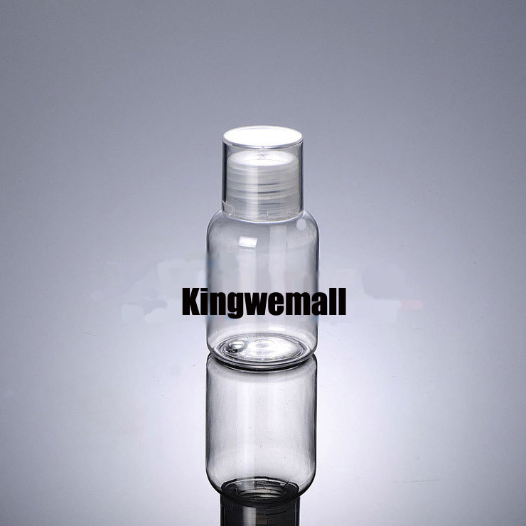 Wholesale 300pcs/lot  Capacity 50ml Empty PET Water  Bottle with Double Lids For Cosmetic Packaging PTD42