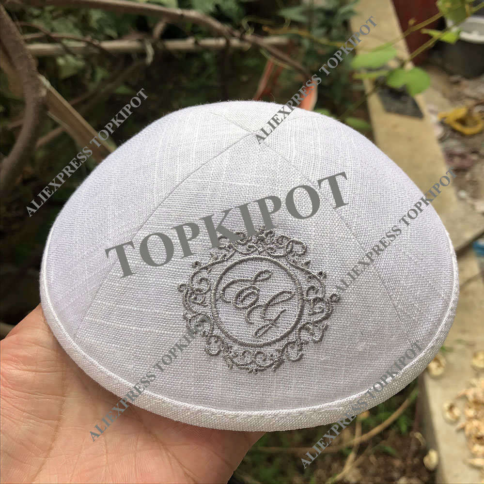 White linen kippahs with SILVER GREY embroidery outside logo