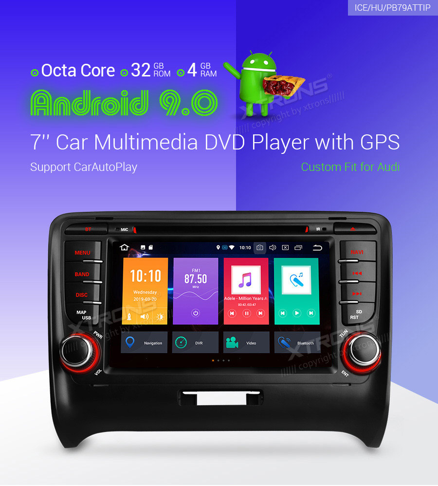 XTRONS 2 Din 7 Android 9.0 Octa Core GPS Navigation Radio Car DVD Player for Audi TT MK2 8J 2006 2007 2008 2009 2010 2011 2012 image