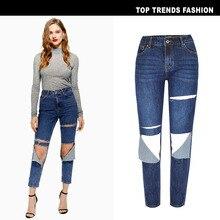 дешево!  2019 синий рваные проблемные парень лодыжки джинсовые джинсы женские повседневные летние весенние об