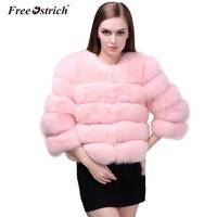Free Ostrich Faux Fur Coat Autumn Winter O Neck Casacos De Inverno Feminino Women Jacket Overcoat Female Coats L0740