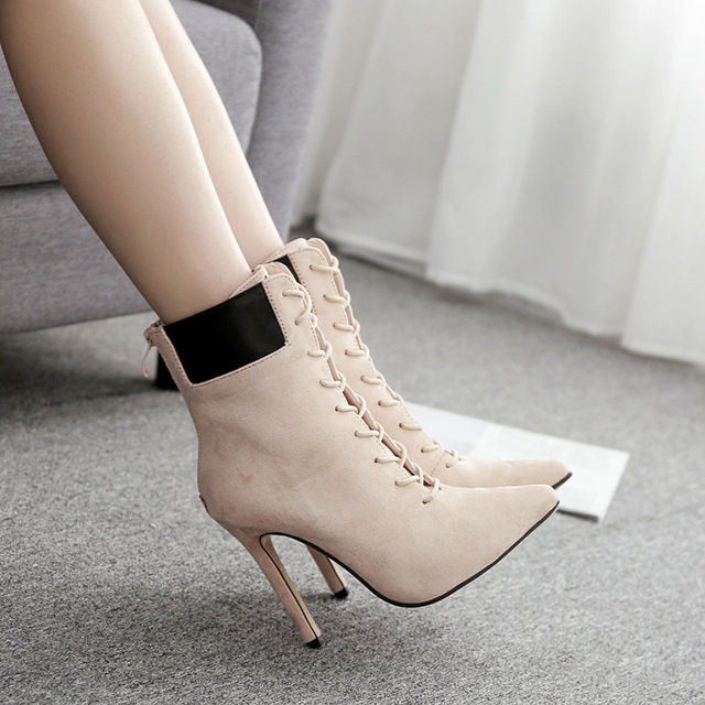 2018 Autumn And Winter New Women's Booties Pink Princess Pointed Female Shoes High Heel Ankle Boots Large Size 42