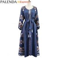 Palenda 2016 New Bohemian Embroidery Kaftan Dress Women Cotton Handmade Bandage Belt On Waist Lantern Sleeve