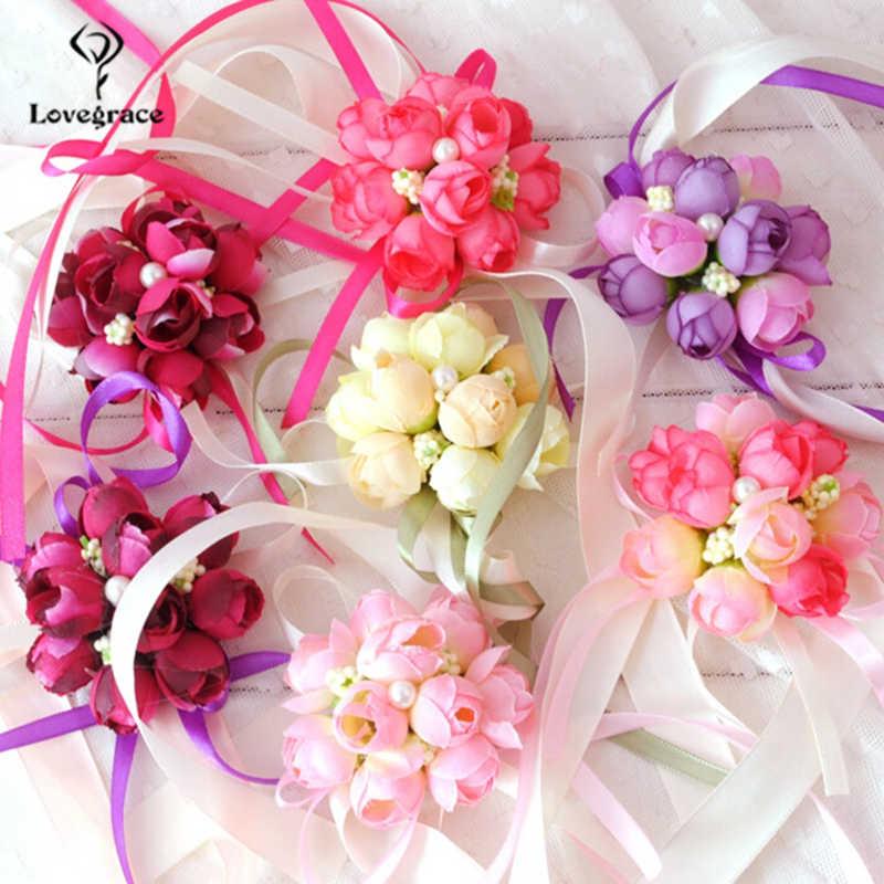 Lovegrace งานแต่งงานสร้อยข้อมือ Corsage ข้อมือดอกไม้มือและ Boutonnieres Silk Rose ดอกไม้ Blue Bouquet อุปกรณ์เสริม
