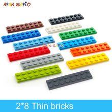 40 adet DIY yapı taşları ince rakamlar tuğla 2x8 nokta 13 renk eğitim yaratıcı boyutu lego ile uyumlu oyuncaklar çocuklar için