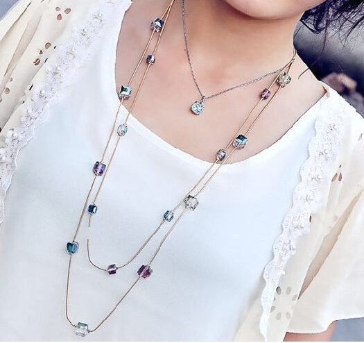2017 Collares Mujer – Fashion Statement Necklaces & Pendants: Gold Crystal Layered Necklace Women Long Collier Femme Maxi Jewelry Bijoux