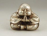 จีนเก่าสีขาวทองแดงฝีมือแกะสลักพระพระพุทธรูปปั้นตกแต่งสวน100%จริงทิ