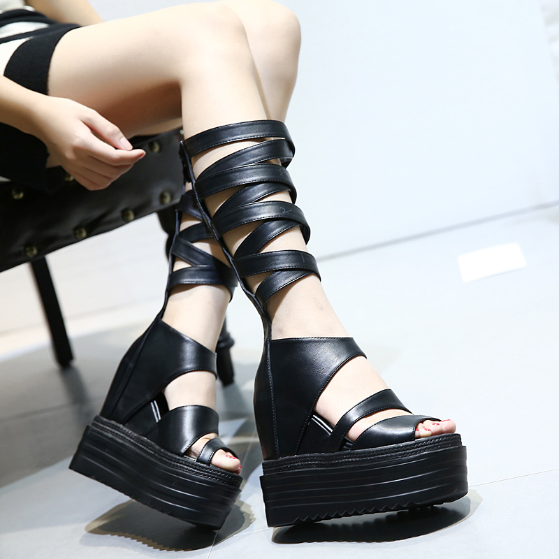 Zapatos Verano Mujer Women Shoes Wedges Sandals High Heel Platform Gladiator Boots Punk High Heels Sandals Peep Toe Ankle Boot 2017 summer new rivet wedges sandals creepers women high heel platform casual shoes silver women gladiator sandals zapatos mujer