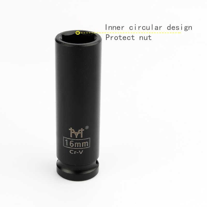 """1/2 """"인치 드라이브 깊은 충격 소켓 미터 공기 공압 소켓 렌치 헤드 10-38mm 표준 내구성 자동차 자동 트럭 수리 도구"""