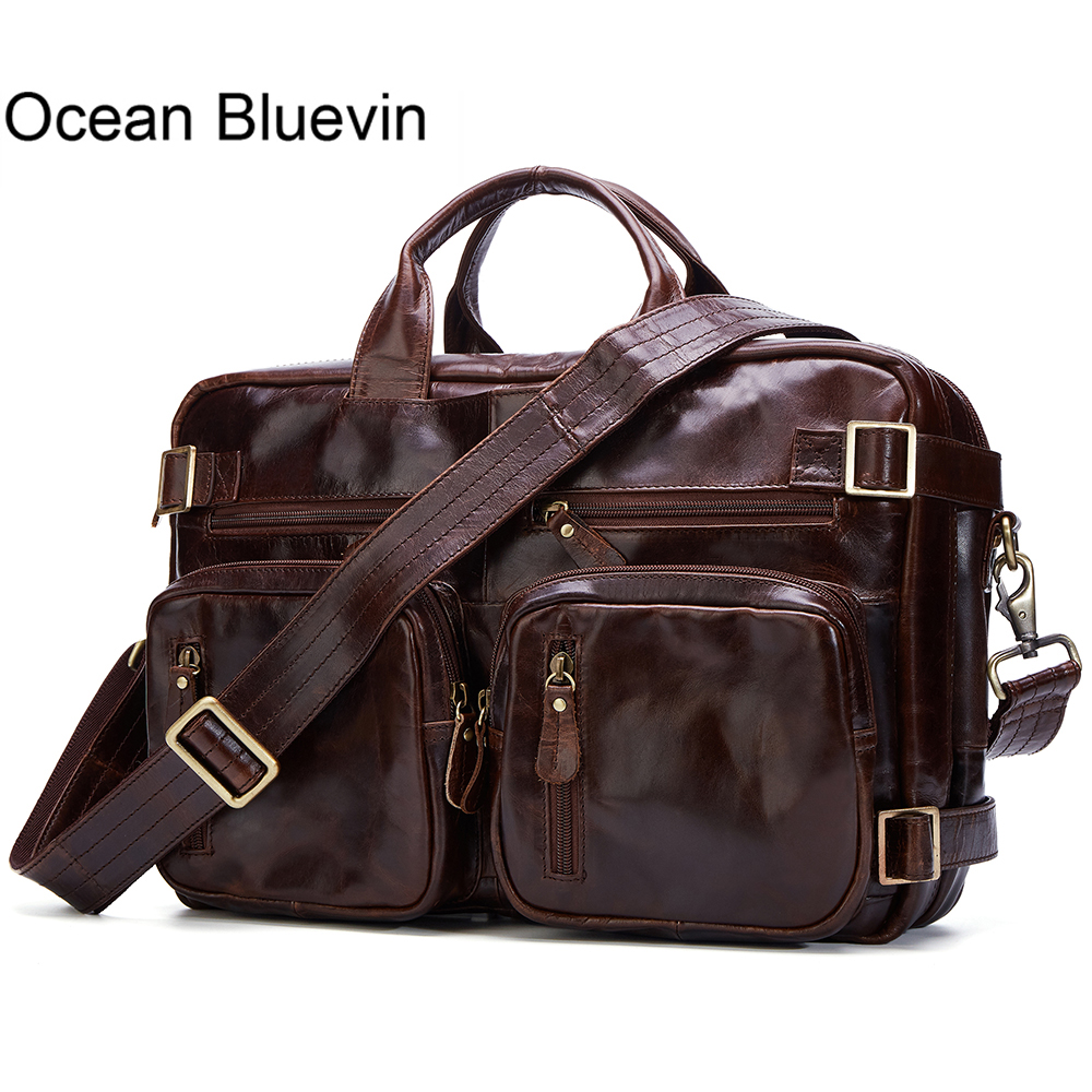 OCEAN BLUEVIN New Handbag High Quality Genuine Leather Travel Bag Men Travel Totes Vintage Luggage Large Duffle Bag Weekend Bag mybrandoriginal travel totes wax canvas men travel bag men s large capacity travel bags vintage tote weekend travel bag b102