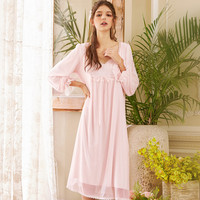 Autumn Sexy Lace Nightgown Women V neck Lady Sleepwear Dress Woman Retro Cotton Nightdress Ice Silk Fashion Dressing Gown