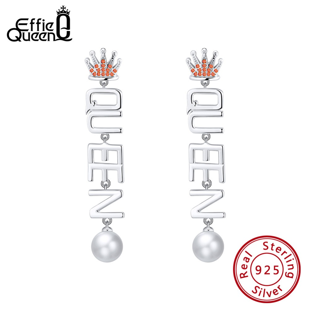 2019 Mode Effie Königin 925 Sterling Silber Frauen Lange Ohrringe Mit Crown Form Aaa Cz Top Perle Brief Earing Tropfen Zirkon Schmuck Be139 Schrecklicher Wert
