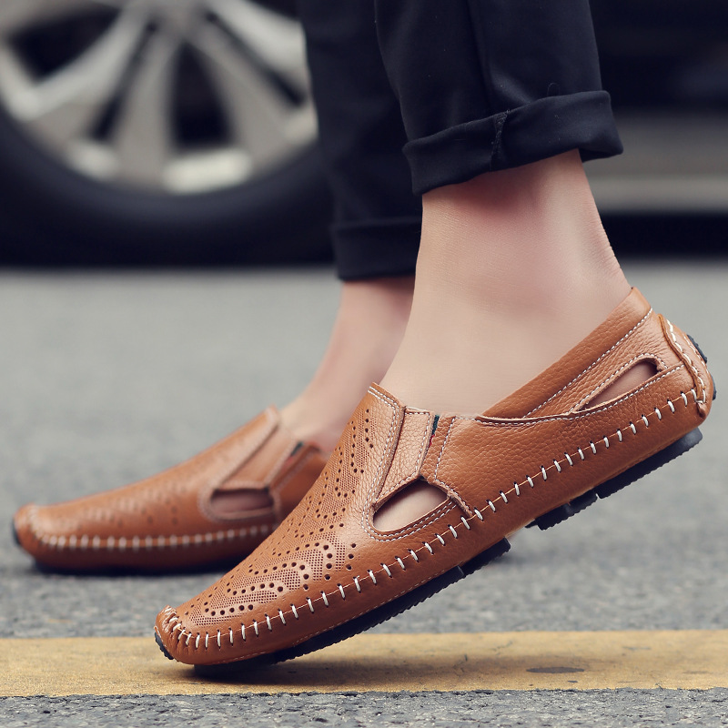 Male British trend leather casual shoes summer one pedal lazy breathable hollow baotou sandals