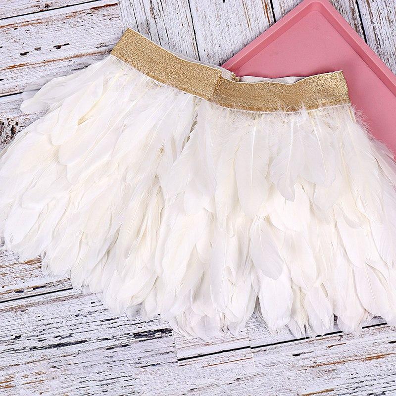 Peacock Dance Belly Dance White Swan Feather Skirt Elastic Gold Waist Mini Skirts Cosplay Halloween Chritmas Rave for Women
