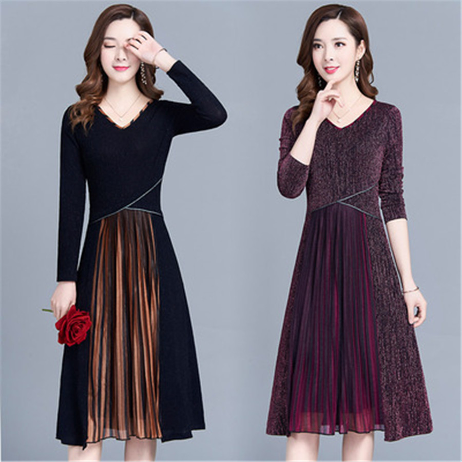2019 ins European new casual fashion ladies dress high quality large size solid color women's dress Korean version 5XL