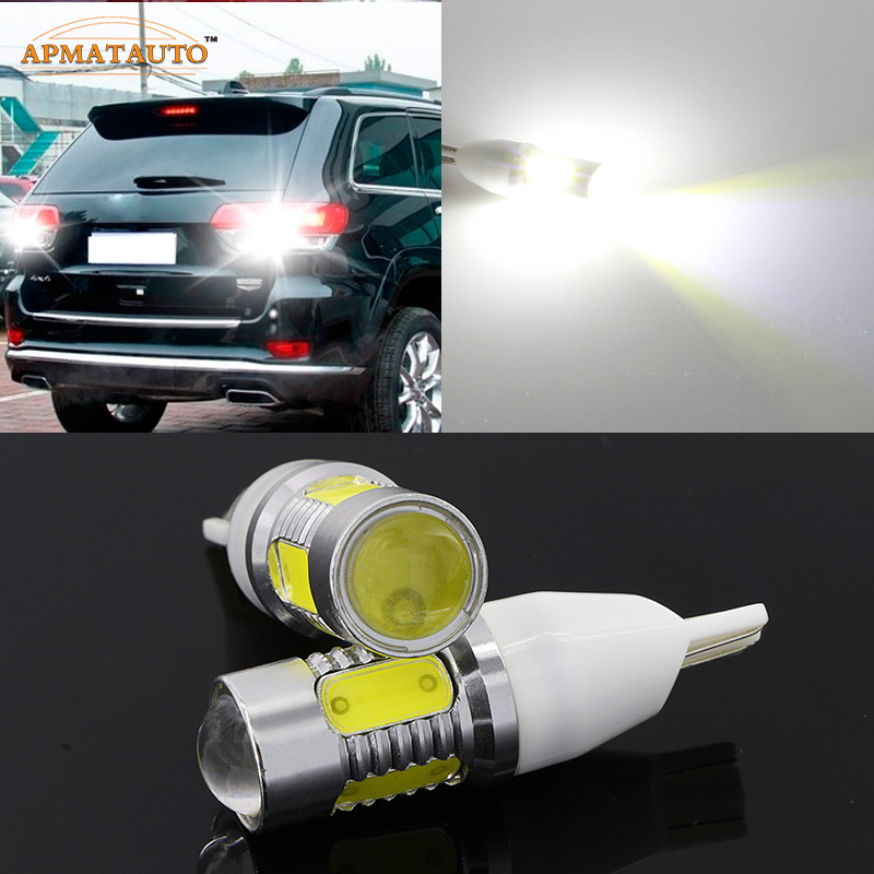 2 x T15 W16W 912 921 T16 White 6000k Plasma LED Projector Blub Tail Backup Reverse Rear Lights For Jeep Compass 2007-2010