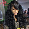 Queen Hair Products with Closure Bundle Indian 4PCS 1B# Body Wave Hair With 1Pc Closure 8A Indian Virgin Hair with Lace Closure