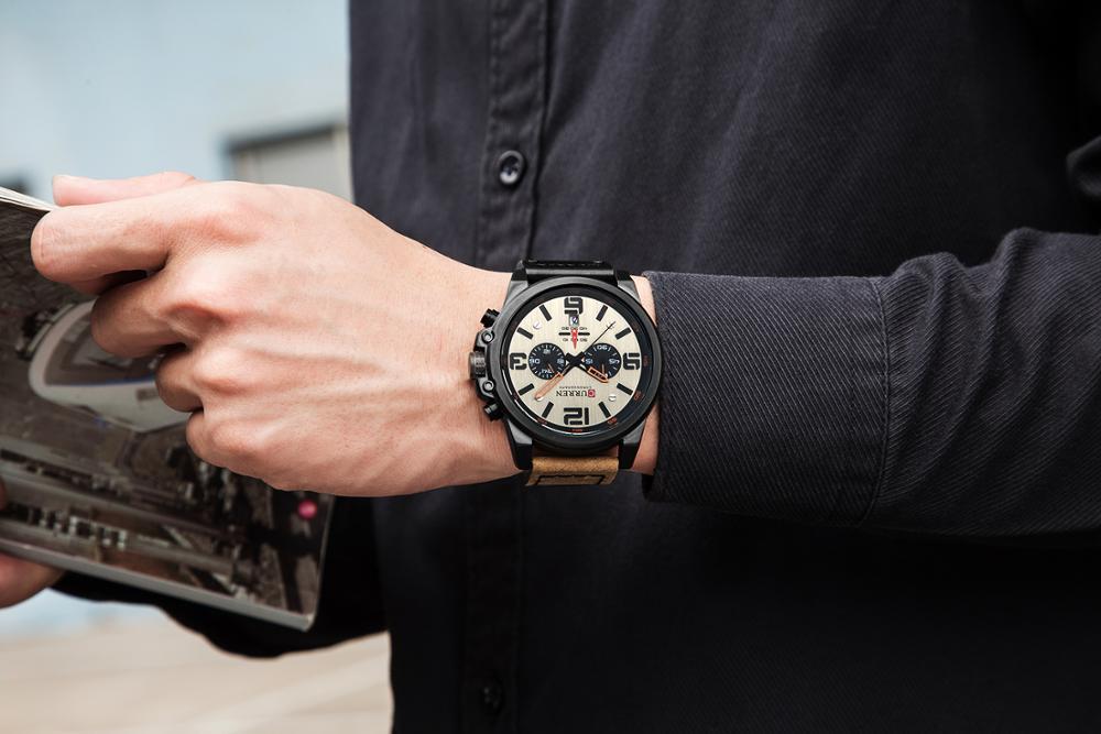 CURREN Mens Watches Top Luxury Brand Waterproof Sport Wrist Watch Chronograph Quartz Military Genuine Leather Relogio Masculino 5