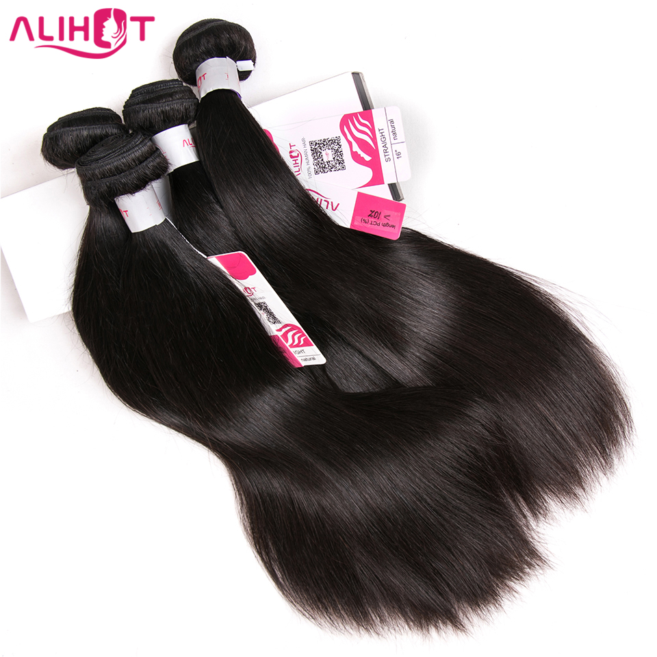 Brazilian Straight Hair 4 Bundles 100% Human Hair Weave Bundles Natural Color 8-28 inch Remy Hair Extensions ALI HOT HAIR