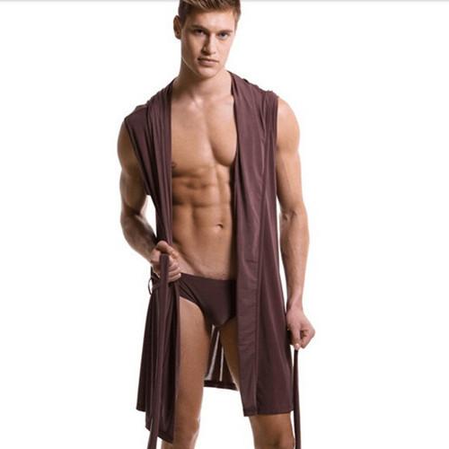 Corredores homens roupões pijamas modelos finos dos homens da Marca de moda sexy de seda leite verão camisola com capuz roupões de banho para homens ropbes
