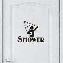 Love Shower Waterproof Wall Stickers Removable Bathroom Glass Door Art Vinyl Mural Washing Room Decor Wallpapers