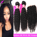 8A Brazilian Virgin Hair Kinky Curly Virgin Hair With Closure 3 Bundles With Lace Closure Curly Weave Human Hair With Closure