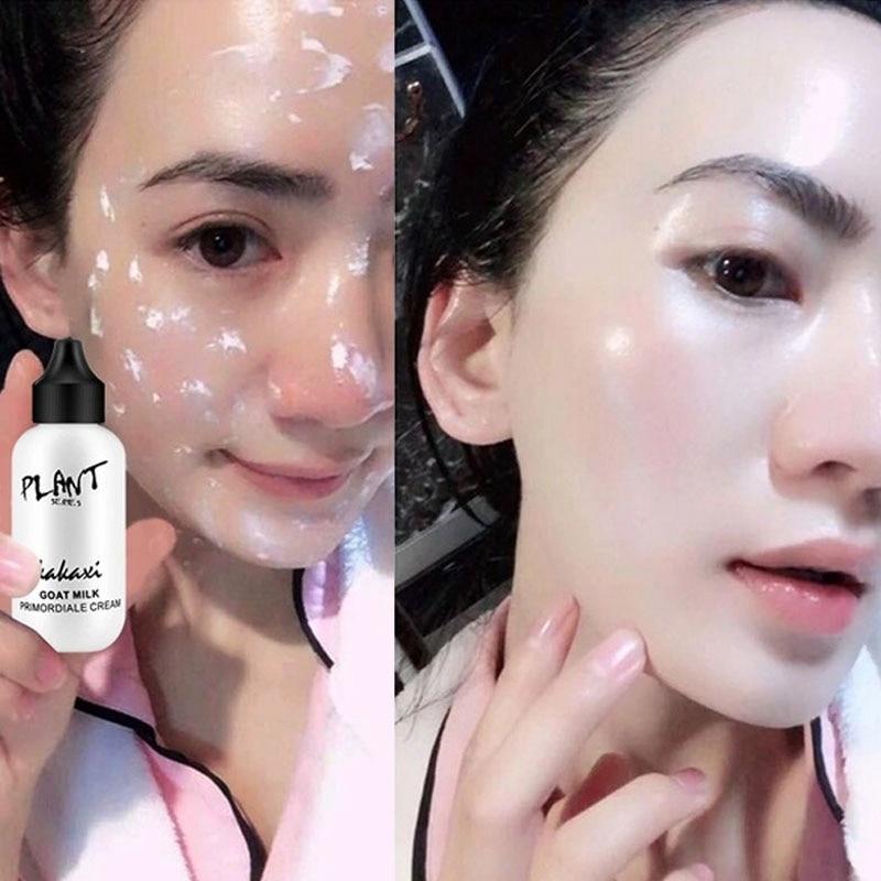 Professional Lazy Face Foundation Cream Goat Milk Revitalizing Full Coverage Waterproof Makeup Base Brighten Cover Dark Circles