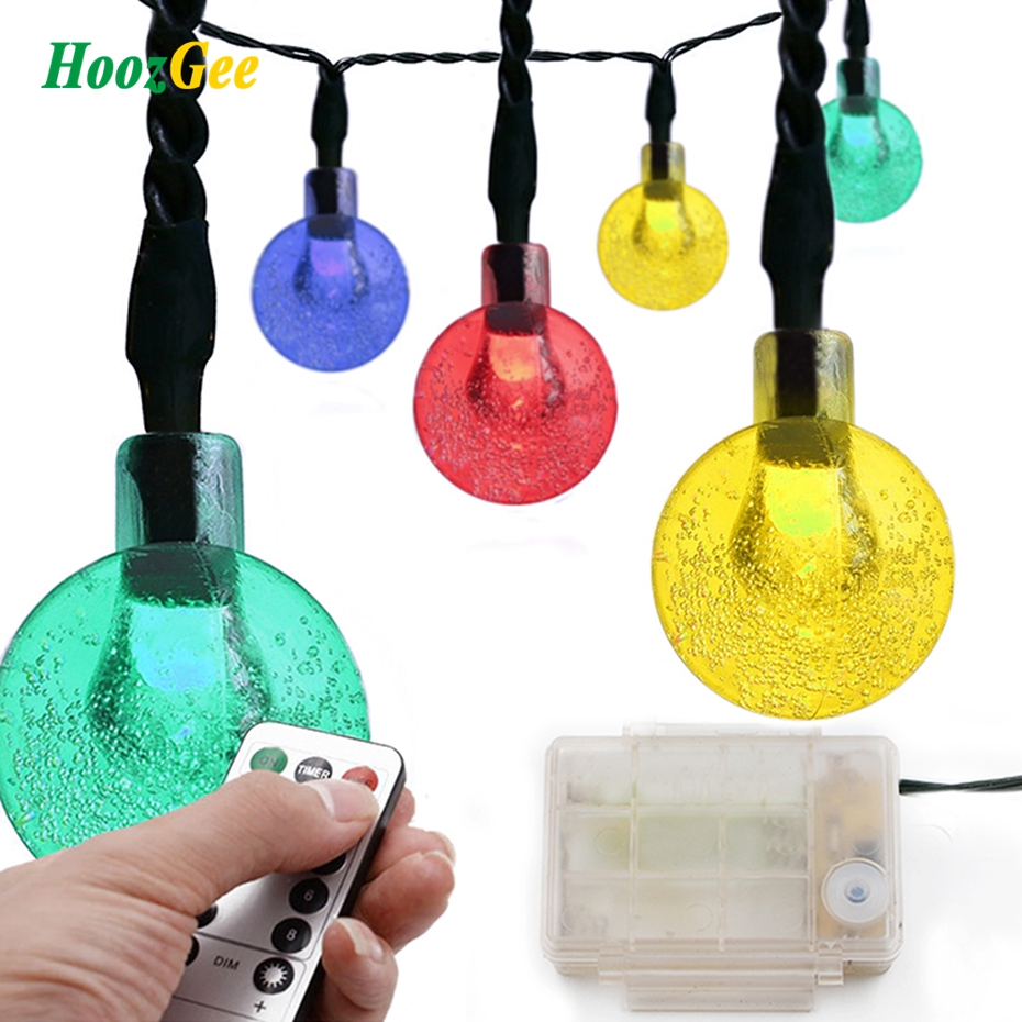 HoozGee Wireless Remote Control String Light Outdoor Fairy Lamp 30 LED Crystal Ball Graden Party Decor Lighting (Battery Power)