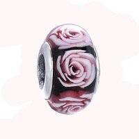 925 стерлингового серебра бисера Лето Black Rose Стекло DIY Бусины Fit Для женщин Pandora Талисманы Браслеты ZCZ012