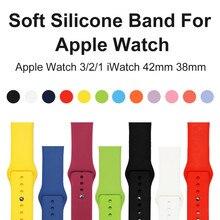 38mm 42mm Alça de Silicone Macio Para A Apple i Série Relógio 1 2 3 Wearable Banda Esporte Relógio Inteligente substituível Pulseira Wrist Strap