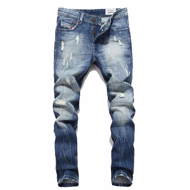 Men Denim Jeans straight cotton Skinny pants Beckham ripped Biker jeans Plus size 42 male plus size ripped straight leg biker jeans