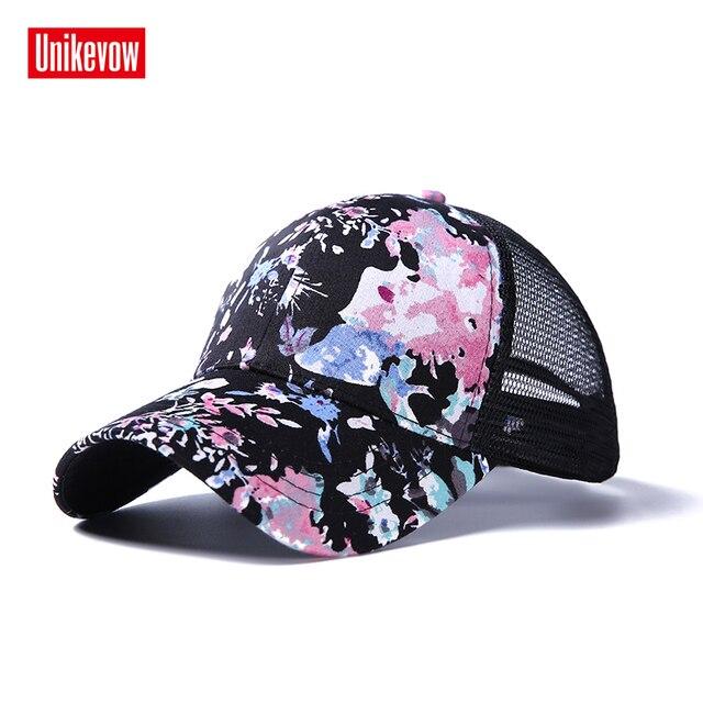 faaca4c74a2 Unikevow Women Half Mesh Baseball Cap Floral Printed Snapback 6 Panel Girls  Hats Summer Fall Caps