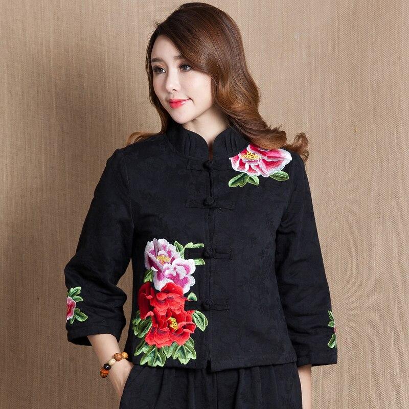 Automne chinois femme coton lin Tang costume style hauts Vintage brodé fleur femmes blouse traditionnel chinois vêtements haut