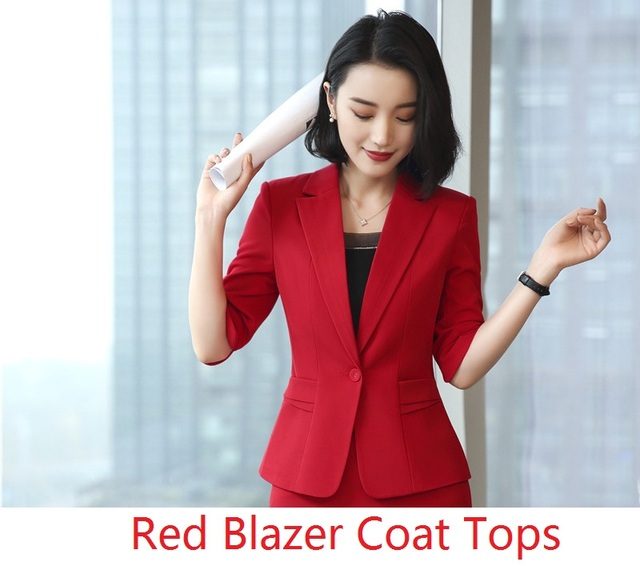 Fashion Red Blazer Women Half Sleeve Blazers Coat Female Tops Outwear Jackets Clothes Plus Size Uniform Designs Spring Summer Blazers Aliexpress