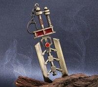 17cm LOL The Might Of Demacia Garen Steel Legion Weapon Sword Metal Pendant Key Ring LOL