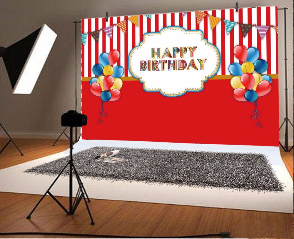Laeacco Balloon Stripes Happy Birthday Baby Party Photographic Backgrounds Customized Photography Backdrops For Photo Studio