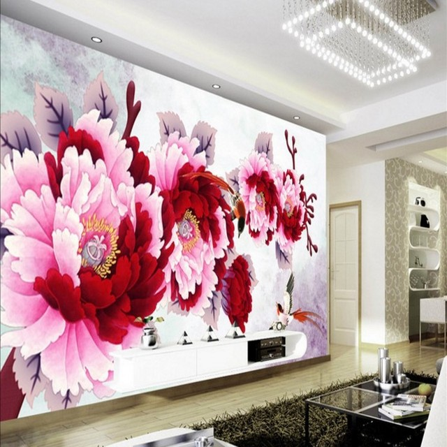 beibehang Large Custom Wallpapers HD Chinese Painting Peony Backdrop ...