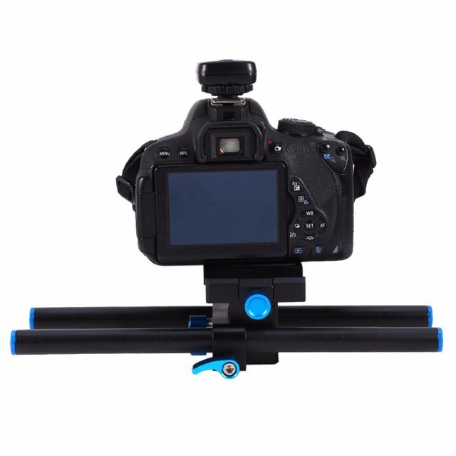 """Câmera DSLR Rail Rod Suporte Do Sistema Baseplate 15mm com 1/4 """"Parafuso Prato de Liberação Rápida Com Cima e Para Baixo função"""